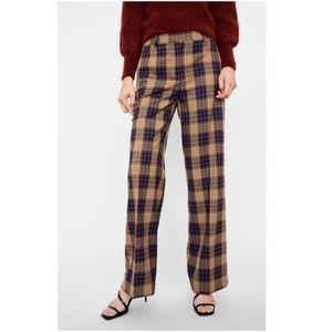 [LAST]NWT Zara Wide Leg Checkered Plaid Pants